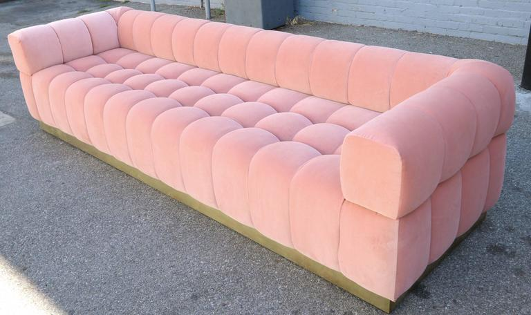 Custom Tufted Pink Velvet Sofa with Brass Base For Sale 2
