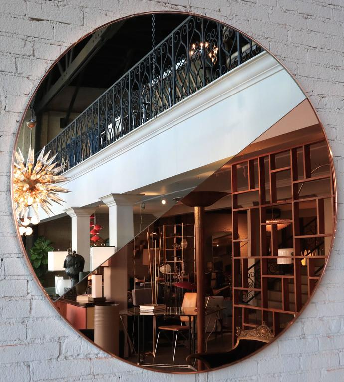 American Custom Half Silver Half Apricot Round Mirror with Copper Frame For Sale