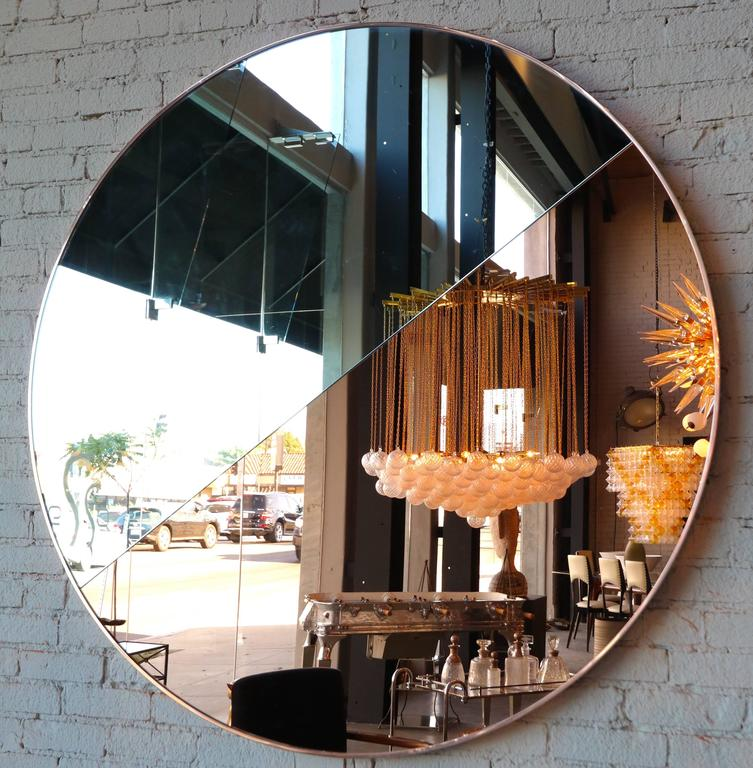 Custom Half Silver Half Apricot Round Mirror with Copper Frame In Excellent Condition For Sale In Los Angeles, CA