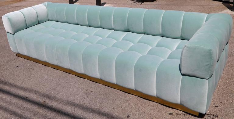 Mid-Century Modern Custom Tufted Aqua Blue Velvet Sofa with Brass Base For Sale