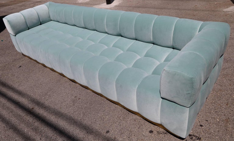 Custom Tufted Aqua Blue Velvet Sofa with Brass Base In Excellent Condition For Sale In Los Angeles, CA
