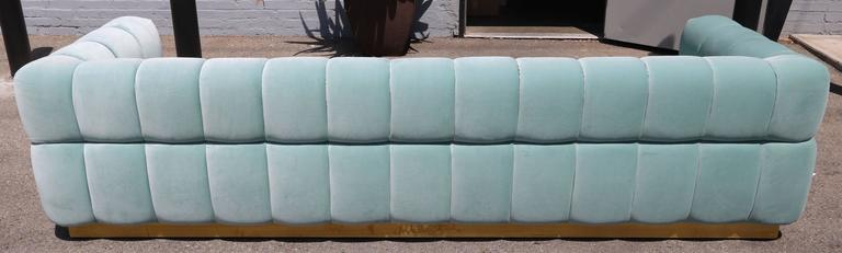 Contemporary Custom Tufted Aqua Blue Velvet Sofa with Brass Base For Sale