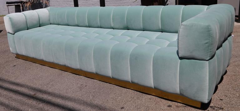 Custom Tufted Aqua Blue Velvet Sofa with Brass Base For Sale 1