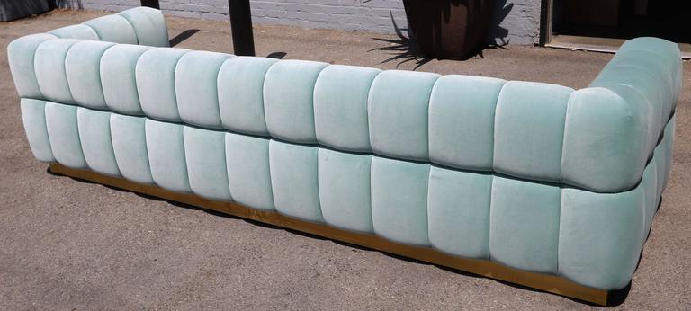 Custom Tufted Aqua Blue Velvet Sofa with Brass Base For Sale 3