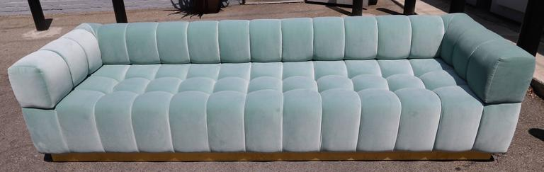 American Custom Tufted Aqua Blue Velvet Sofa with Brass Base For Sale