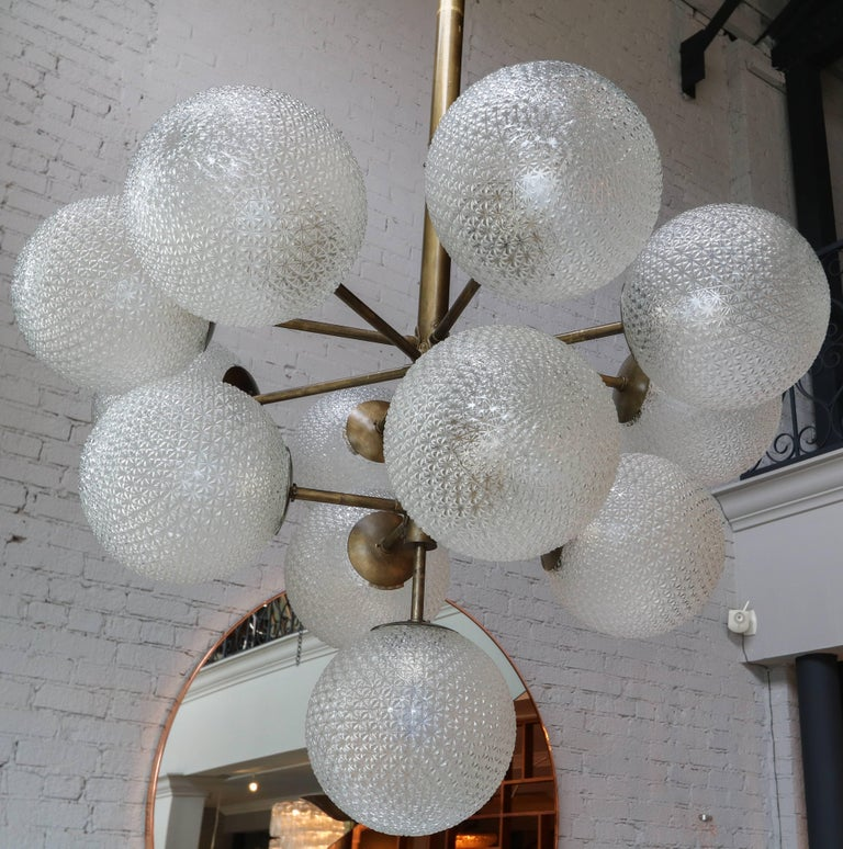 Italian Large Brass Chandelier with Pebbled Glass Balls For Sale