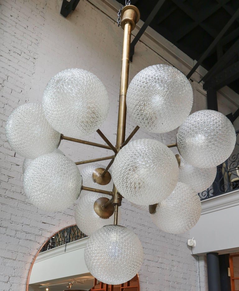 Large Brass Chandelier with Pebbled Glass Balls In Good Condition For Sale In Los Angeles, CA