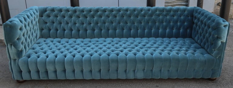 """Spectacular custom Capitone """"Carmen"""" tufted sofa by Adesso Studio upholstered in blue green Belgium velvet. Every side of the sofa is tufted, even the back. Can be made in different sizes and colors."""