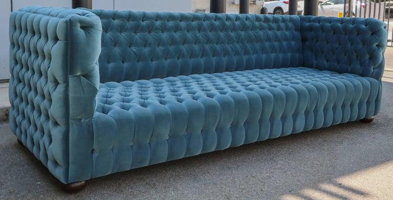 """American Custom Capitone """"Carmen"""" Tufted Blue Green Velvet Sofa For Sale"""