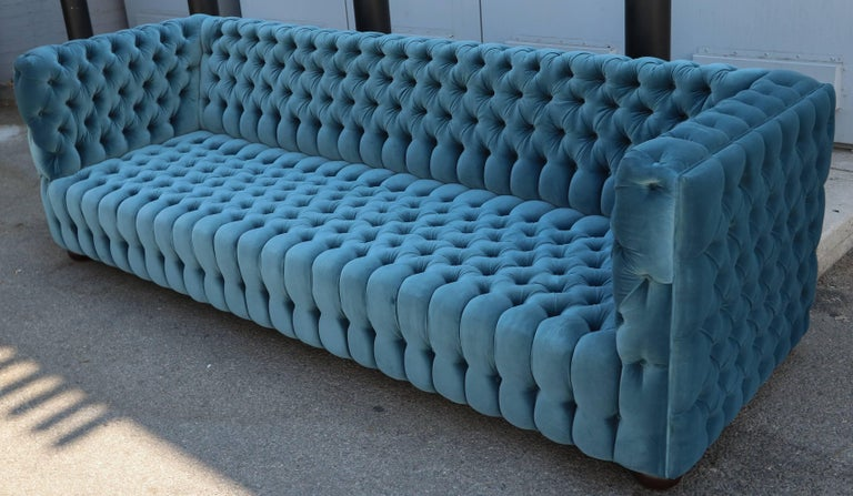 """Custom Capitone """"Carmen"""" Tufted Blue Green Velvet Sofa In Excellent Condition For Sale In Los Angeles, CA"""