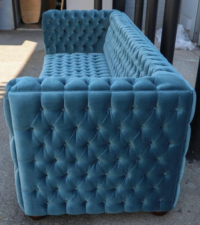 "Contemporary Custom Capitone ""Carmen"" Tufted Blue Green Velvet Sofa For Sale"