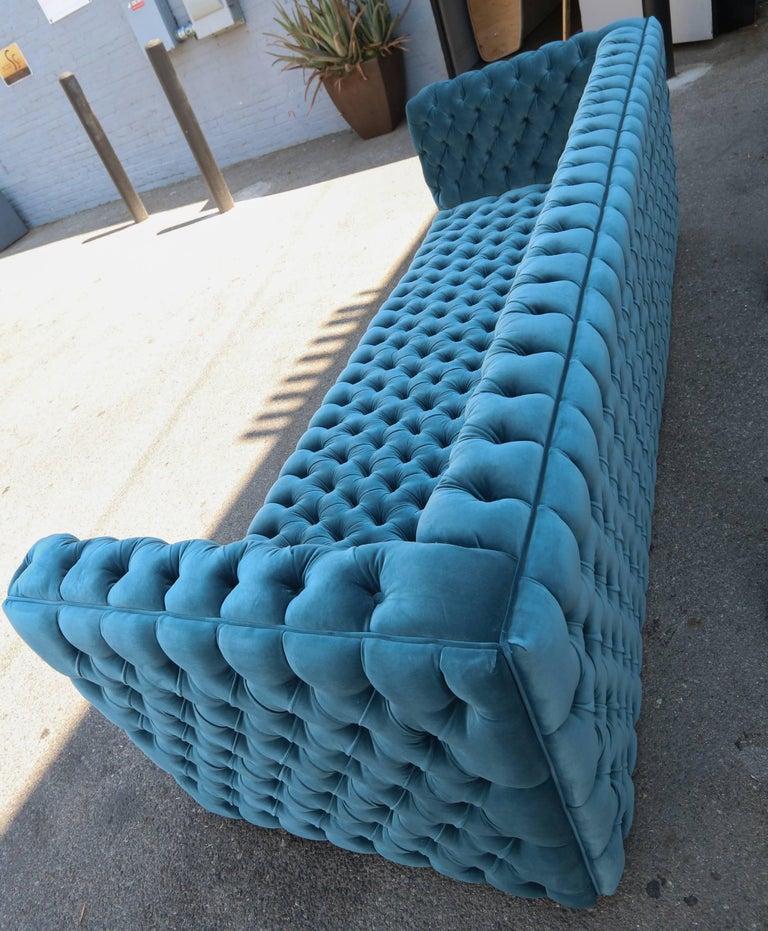 """Custom Capitone """"Carmen"""" Tufted Blue Green Velvet Sofa For Sale 1"""