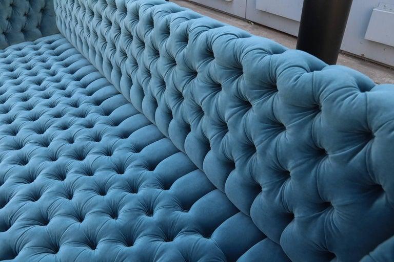 """Custom Capitone """"Carmen"""" Tufted Blue Green Velvet Sofa For Sale 2"""