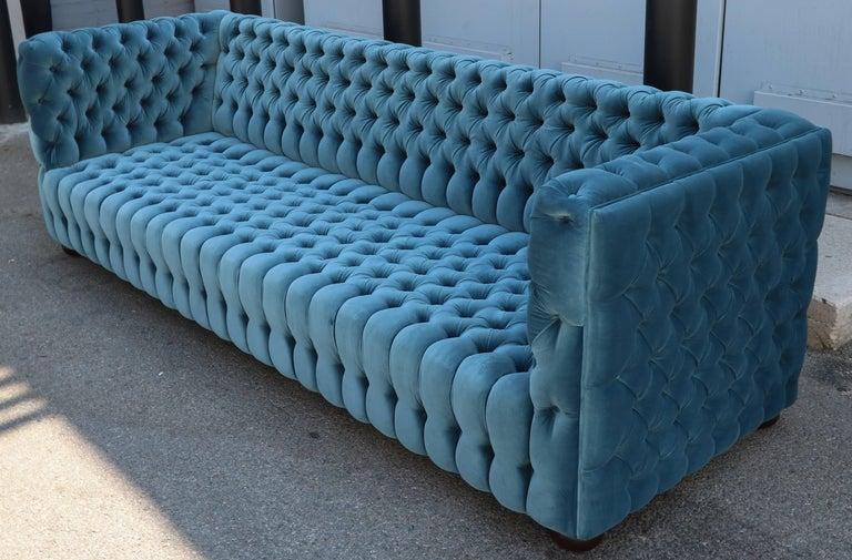 """Custom Capitone """"Carmen"""" Tufted Blue Green Velvet Sofa For Sale 3"""
