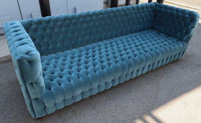 """Custom Capitone """"Carmen"""" Tufted Blue Green Velvet Sofa For Sale 4"""