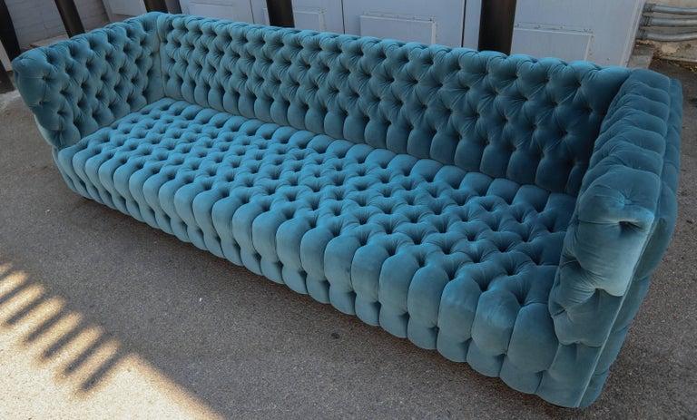 """Custom Capitone """"Carmen"""" Tufted Blue Green Velvet Sofa For Sale 5"""