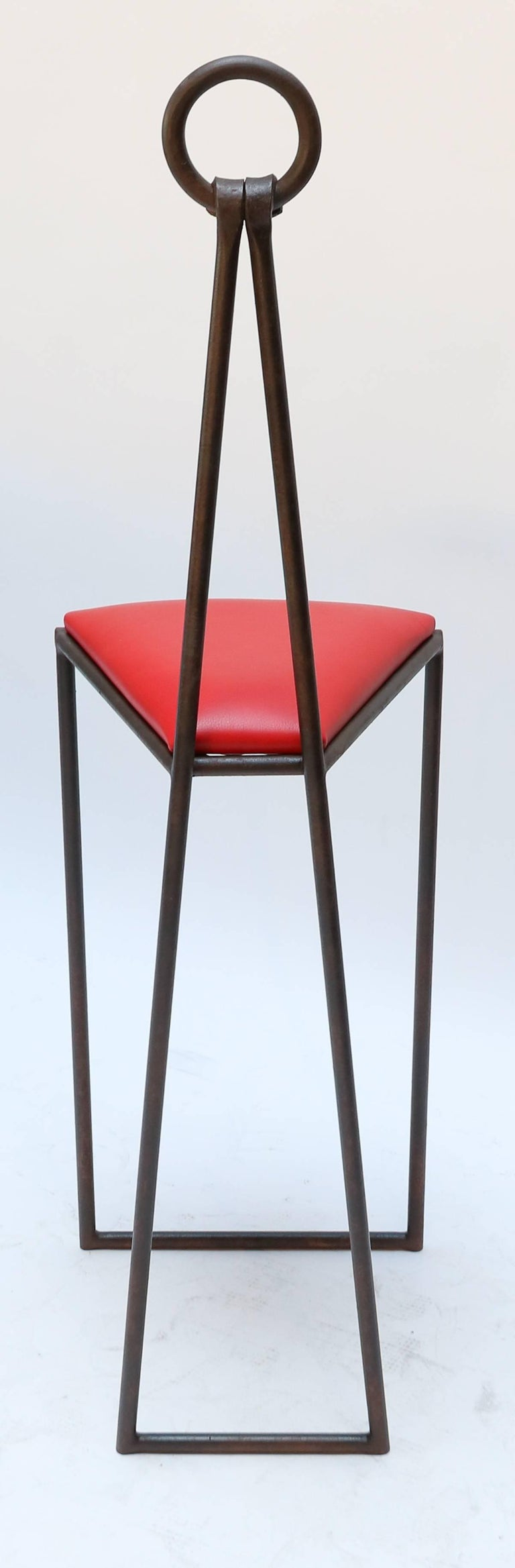 Wondrous Custom Iron Bar Stools With Red Leather Seats By Adesso Imports Unemploymentrelief Wooden Chair Designs For Living Room Unemploymentrelieforg