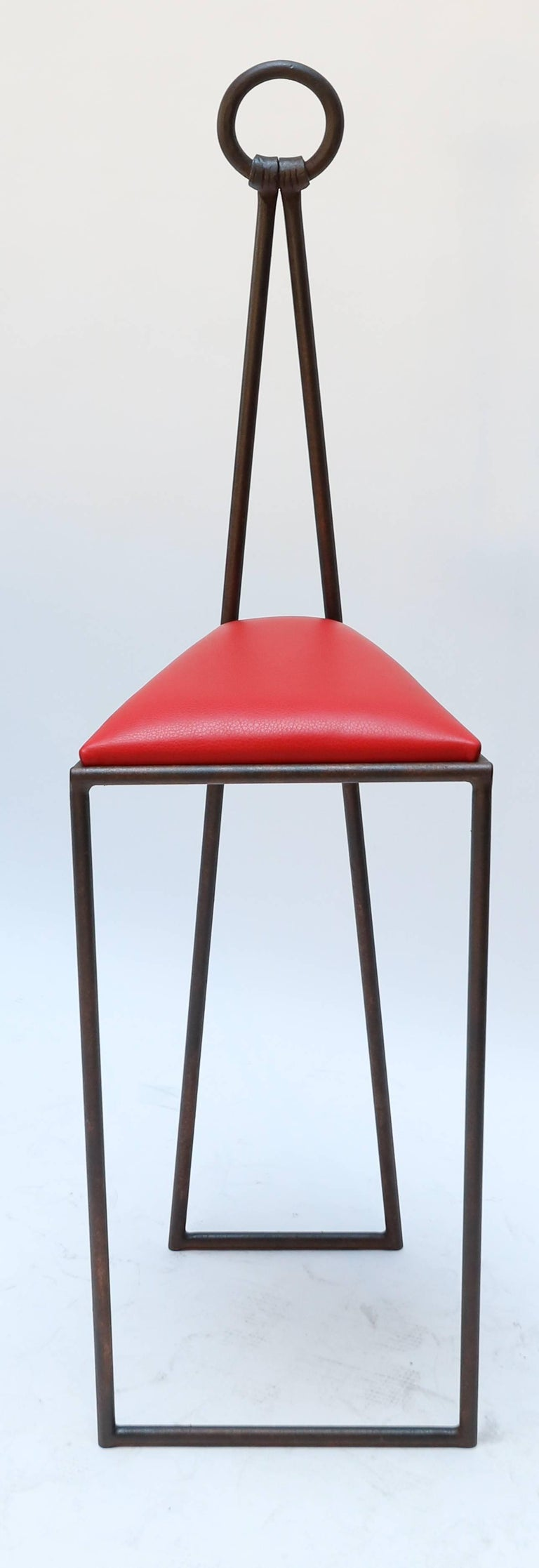 Mid century modern custom iron bar stools with red leather seats for sale
