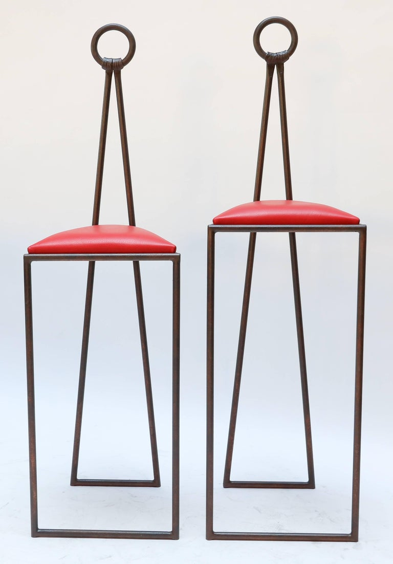 Contemporary Custom Iron Bar Stools with Red Leather Seats For Sale