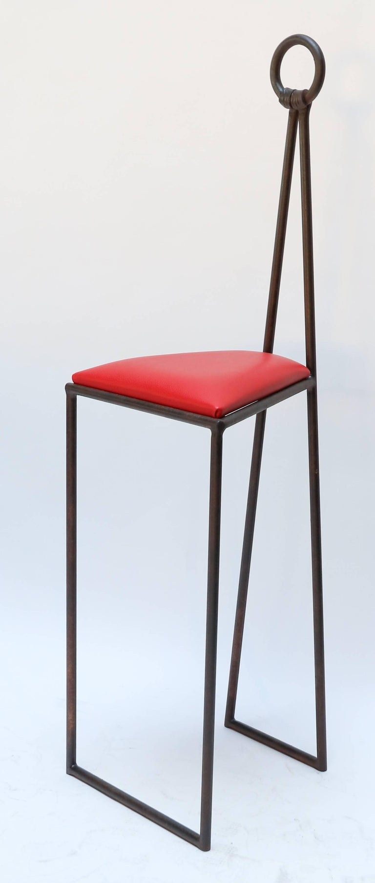 Custom Iron Bar Stools With Red Leather Seats For Sale At