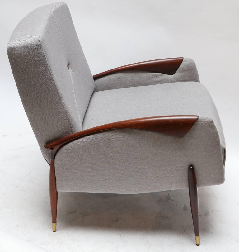 Pair of Brazilian armchairs by Scapinelli in jarcaranda and grey linen.