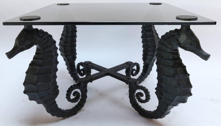 Pair Of Iron Seahorse Side Tables With Smoked Glass Tops For Sale At - Seahorse coffee table