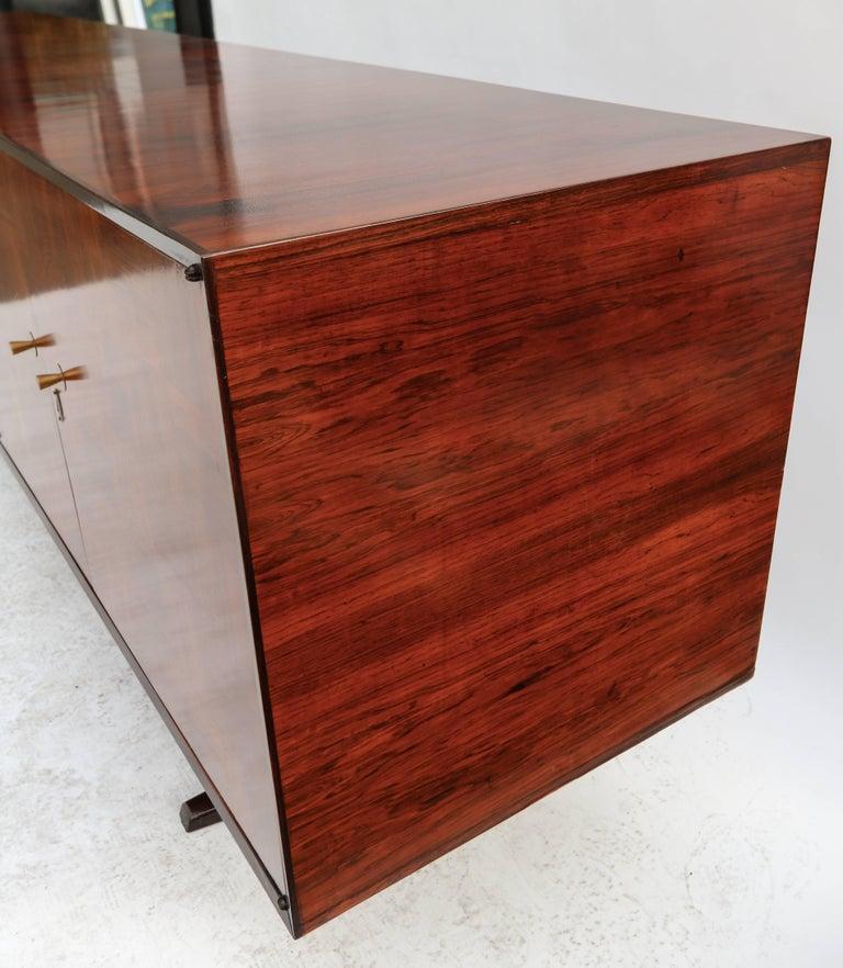 Brass Scapinelli 1960s Brazilian Jacaranda Parquet Sideboard For Sale