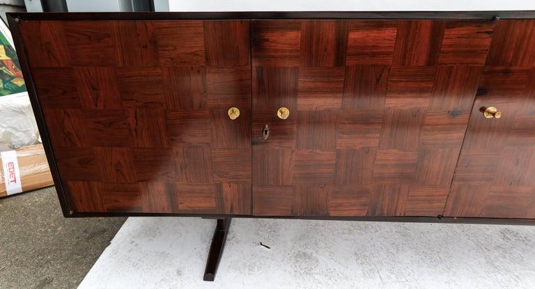 Mid-Century Modern Scapinelli 1960s Brazilian Jacaranda Parquet Sideboard For Sale