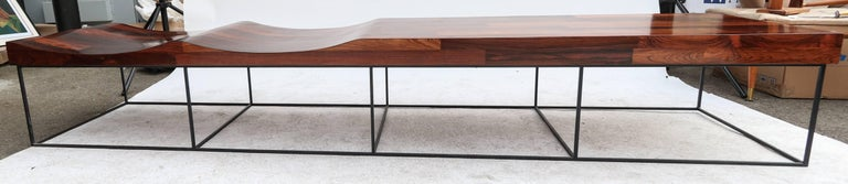 Jorge Zalszupin 1960s Brazilian Parquet Jacaranda 102 Bench In Good Condition For Sale In Los Angeles, CA