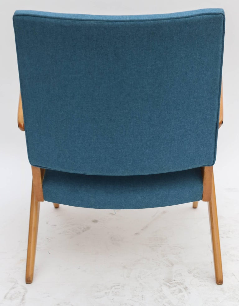 Pair of 1960s Zanine Brazilian Caviuna Armchairs in Blue Linen 5