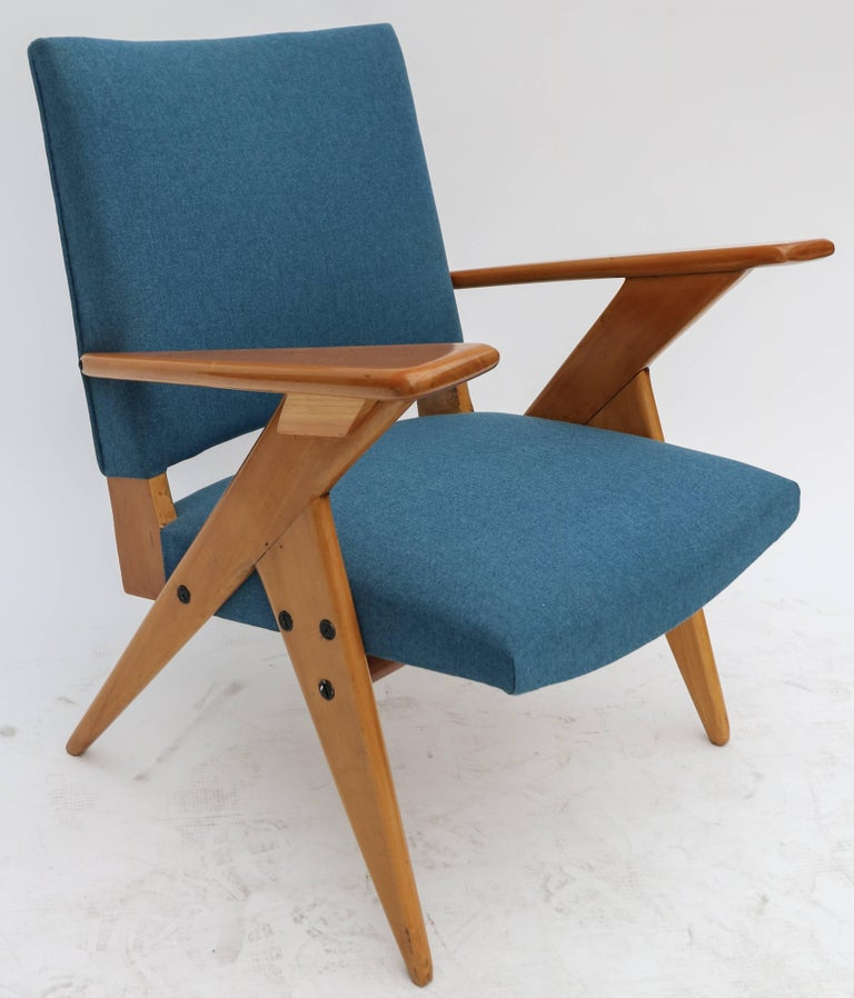 Pair of 1960s Zanine Brazilian Caviuna Armchairs in Blue Linen 3