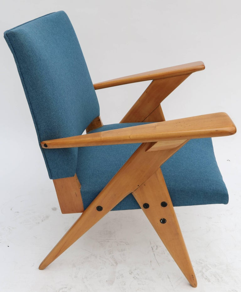 Pair of 1960s Zanine Brazilian Caviuna Armchairs in Blue Linen 4