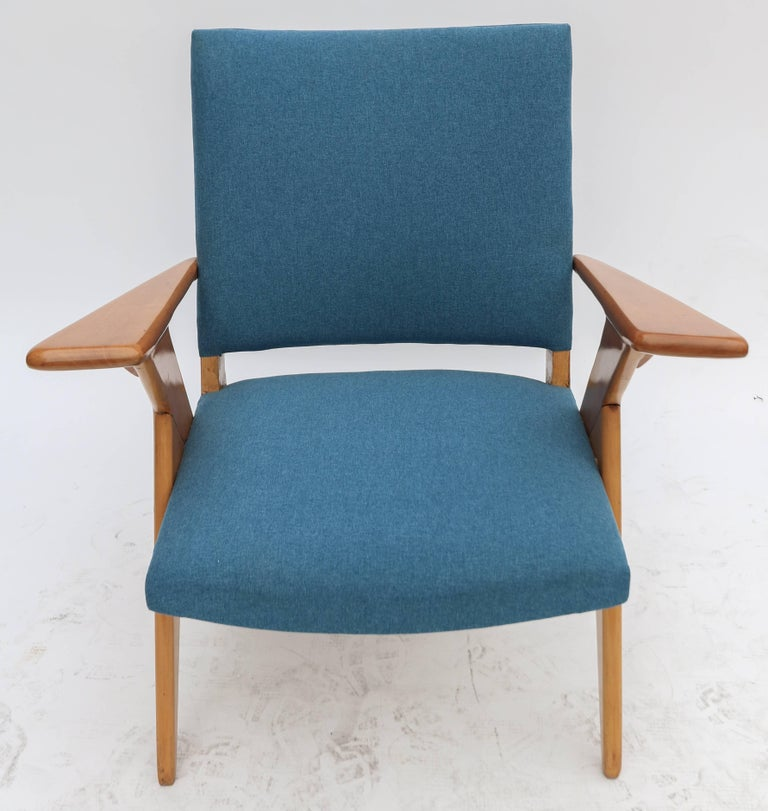 Pair of 1960s Zanine Brazilian Caviuna Armchairs in Blue Linen 6