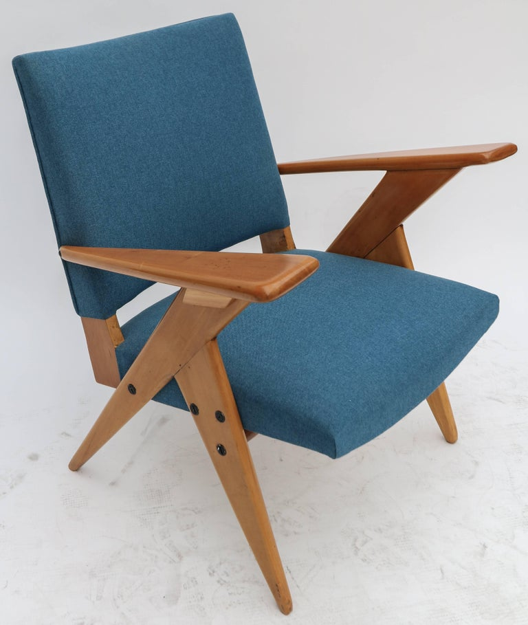Pair of 1960s Zanine Brazilian Caviuna Armchairs in Blue Linen 2