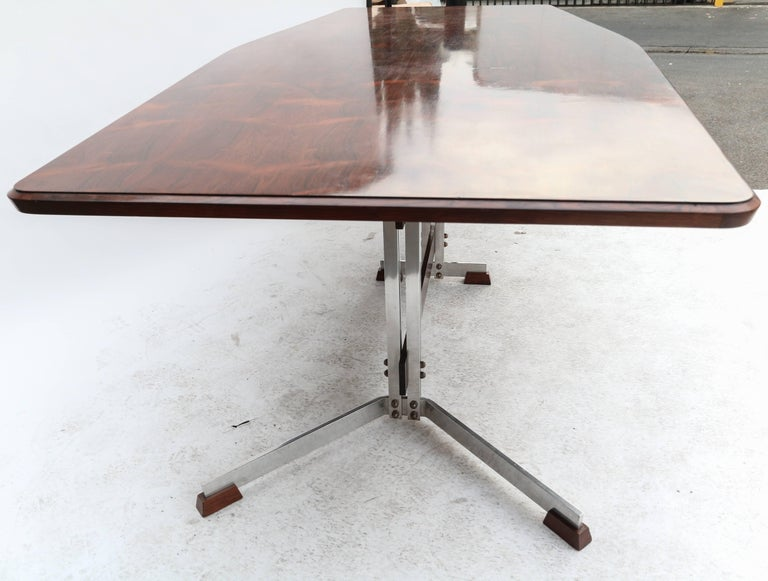 Chrome Brazilian Jacaranda 1960s Dining Table for Eight by Liceu de Artes For Sale