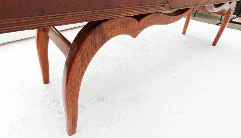 Scapinelli 1960s Brazilian Caviuna Console Table Desk For Sale 1