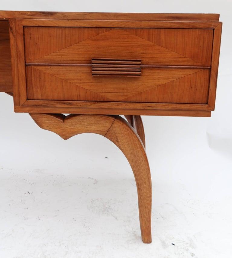 Scapinelli 1960s Brazilian Caviuna Console Table Desk In Good Condition For Sale In Los Angeles, CA