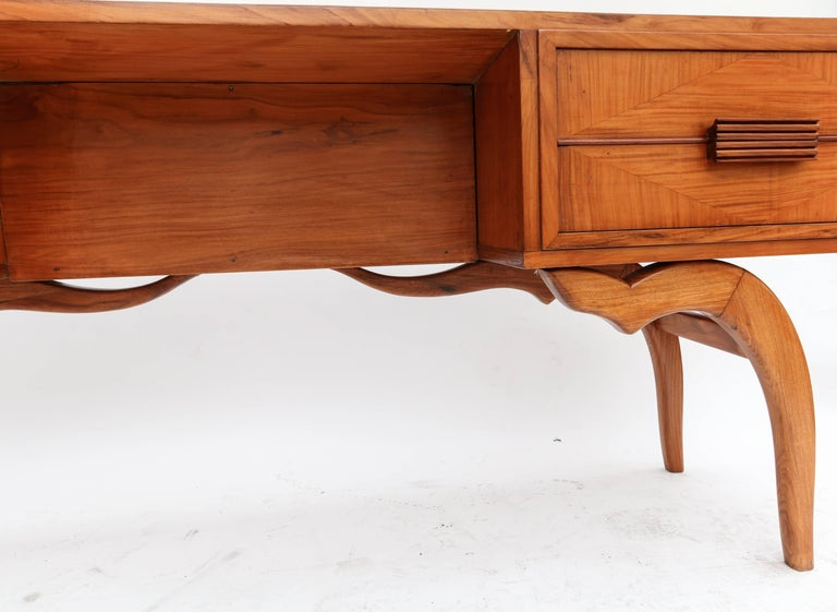 Mid-20th Century Scapinelli 1960s Brazilian Caviuna Console Table Desk For Sale