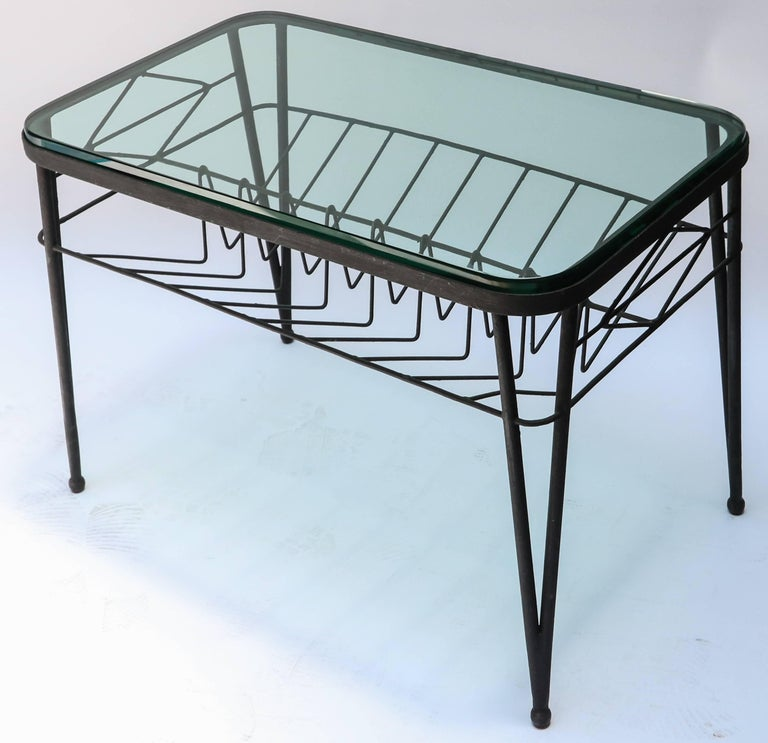 1960s Italian Rectangular Metal Side Table with Glass Top In Good Condition For Sale In Los Angeles, CA
