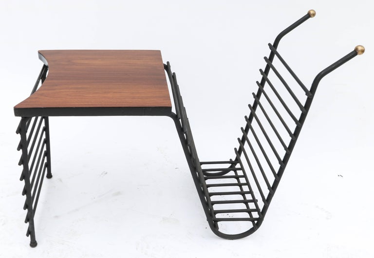"""1960s side table and magazine rack in metal with brass finials and jacaranda wood top.  Table height:  16"""""""