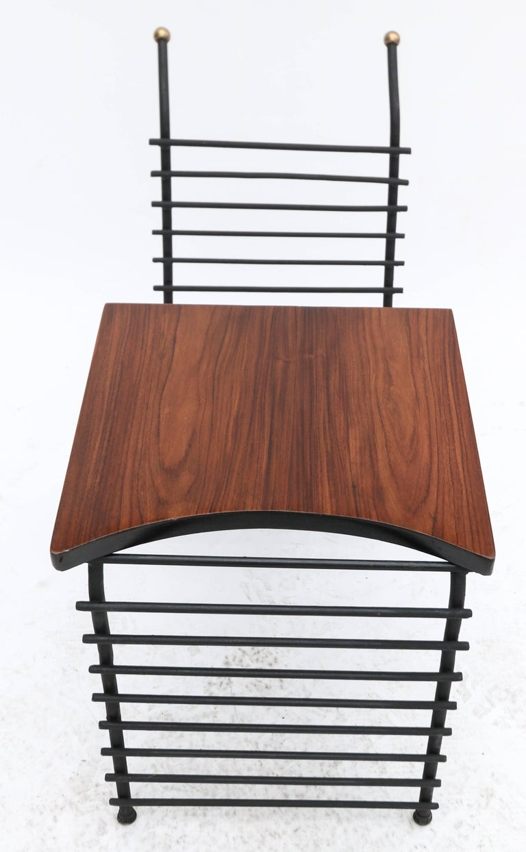 Metal and Brazilian Jacaranda 1960s Side Table and Magazine Rack In Good Condition For Sale In Los Angeles, CA