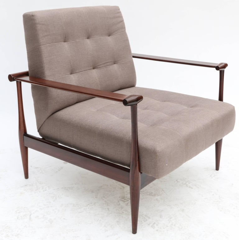 Pair of Liceu de Artes Brazilian Jacaranda 1960s Armchairs in Grey Linen For Sale 2