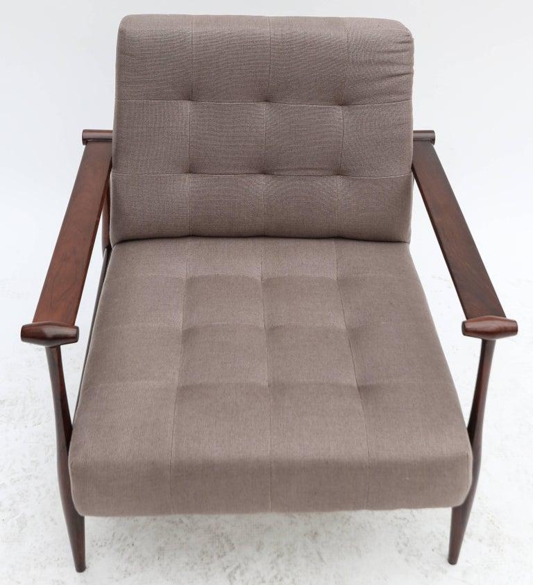 Pair of Liceu de Artes Brazilian Jacaranda 1960s Armchairs in Grey Linen For Sale 1