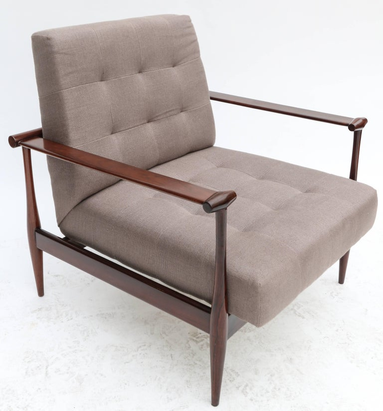 Pair of 1960s armchairs by Liceu de Artes in Brazilian jacaranda and upholstered in grey linen.