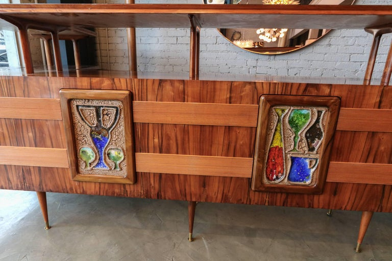 Long Brazilian Jacaranda Bar by Scapinelli In Good Condition For Sale In Los Angeles, CA