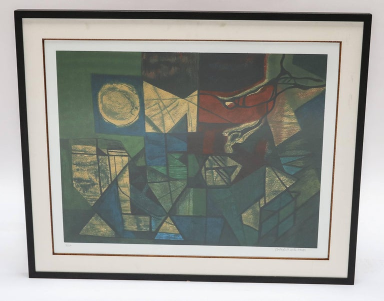 Roberto Burle Marx abstract print in greens and yellows. Number 3/120.