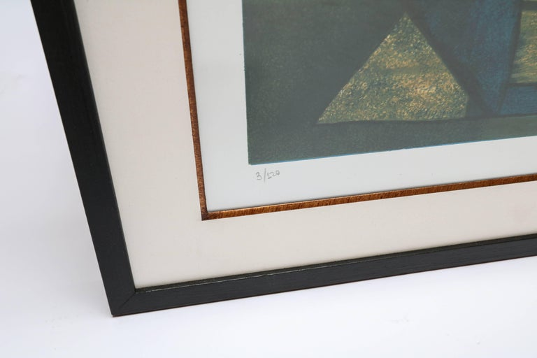 Roberto Burle Marx Abstract Print in Green and Yellow, 1960s In Good Condition For Sale In Los Angeles, CA