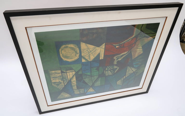 Mid-Century Modern Roberto Burle Marx Abstract Print in Green and Yellow, 1960s For Sale
