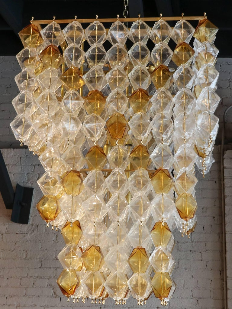 Mid-Century Modern Orange and Clear Murano Glass Tiered Chandelier For Sale