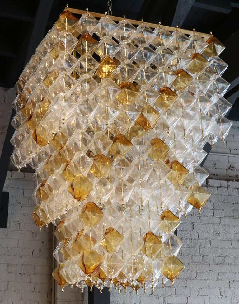 Brass Orange and Clear Murano Glass Tiered Chandelier For Sale